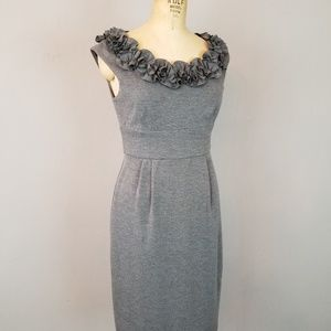 London Times Fitted  Grey Dress with Ruffled Neck